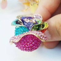 Rose Flower Design Gold Plated Costume Jewellery Crystal Ring-UK Size P